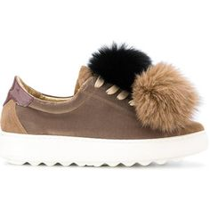 Madeleine fox fur pom-pom sneakers - Brown Philippe Model