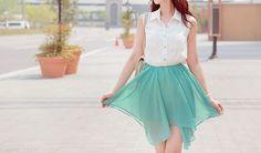 Draped layers mint fashion skirt