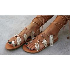 RiRiPoM Tie Up Gladiator Leather Sandals Lace Sandals by RiRiPoM