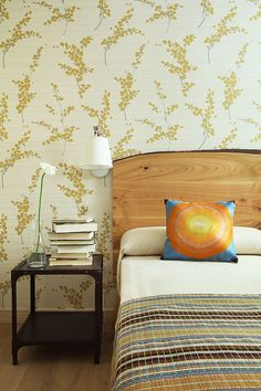 I thought The Headboard is Formica. Apartment Interior, Interior Walls, Interior And Exterior, Custom Wallpaper, Wall Wallpaper, Erica, Casamance, Inspirational Wallpapers, Room Inspiration
