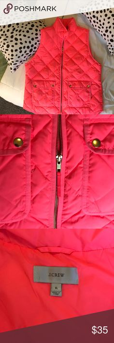 J. Crew hot pink puffer vest 💖💓💞 Classic hot pink puffer vest, perfect for spring. Gold accents (zipper and snap enclosure front buttons) and true to size. 100% polyester lining, 70% down fill. J. Crew Jackets & Coats Vests