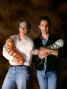 larvalhex:  lowereastnowhere:  Clive Barker and David Cronenberg on the set of Nightbreed. They look so proud…  Fathers.