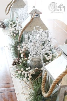 Christmas tablescape and centerpiece ideas plus other Christmas decor and decorating ideas from Thrifty and Chic's Christmas home tour