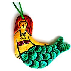 Mermaid Ornament Ceramic Painted Nautical Home Decor Seashells Scales... ($24) ❤ liked on Polyvore featuring home, home decor, nautical home accessories, nautical home decor, seashell home decor, emerald green home decor and red home decor