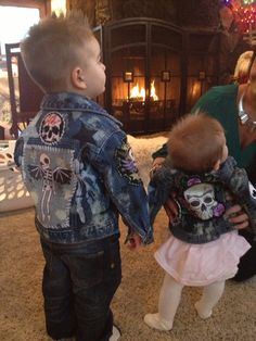Kids Customed made rocker skull jean jackets By: Chad Cherry Clothing on Etsy