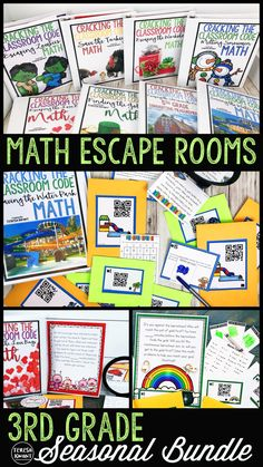 Escape room games are the perfect way to engage students, while also having them practice a skill. In fact, students will be having so much fun that they won't even know they are learning math! This seasonal bundle includes 8 escape games with each one f Free Math Worksheets, Math Resources, Third Grade Math, Fourth Grade, Grade 3, Teaching Math, Creative Teaching, Teaching Ideas, Teaching Reading