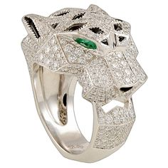 CARTIER Gold Diamond, Onyx & Emerald Panther Ring
