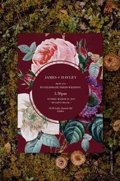 Stunning burgundy floral Wedding Invitation by Sail and Swan Studio. The design features a crimson burgundy background with stunning florals such as pink rose, cream and purple flowers.