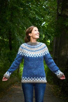 Fair Isle Knitting Patterns, Sweater Knitting Patterns, Knitting Designs, Knitting Socks, Cute Sweaters, Girls Sweaters, Norwegian Knitting, Icelandic Sweaters, Nordic Sweater