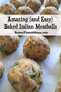 These hearty ba Yum! These hearty baked Italian meatballs are easy to make and freeze well for quick dinners. Add them to soups spaghetti mac-and-cheese and more. Plus a special tip so you don't have to touch the raw meat with your hands! Real Food Recipes, Vegetarian Recipes, Snack Recipes, Dinner Recipes, Healthy Recipes, Yummy Food, Drink Recipes, Easy Recipes, Dinner Ideas