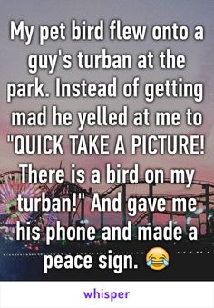 "My pet bird flew onto a guy's turban at the park. Instead of getting mad he yelled at me to ""QUICK TAKE A PICTURE! There is a bird on my turban!"" And gave me his phone and made a peace sign. 😂"