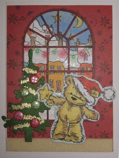 Handmade Bear decorating tree Card made by Sarah Bell
