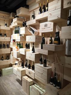 Wine rack series PRESTIGE made of solid oak, stained brown – Wine World Wine Shop Interior, Bar Interior, Wine Cellar Design, Wine Design, Wine Bottle Chandelier, Decoration Restaurant, Home Wine Cellars, Wine House, Wine Wall