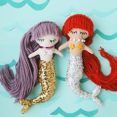 Make your own mermaid doll with this simple tutorial + downloadable pattern!