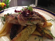 Black sea bass, braised fennel, basil nage Christophers Kitchen, Catering Events, Sea Bass, Black Sea, Fennel, Basil, Steak, Chicken, Food