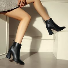 Handmade Comfort Back Zipper Boots Nine Seven Genuine Leather Womens Pointed Toe Stiletto High Heel Ankle Booties
