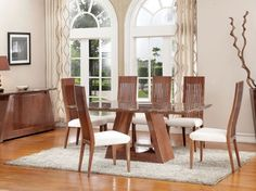 Exclusive Cruz Marble and Walnut High Gloss Dining Set