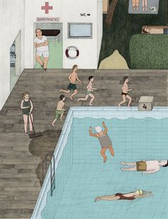 Life guard Berlin-based illustrator Sophia Martineck has created a series of illustrations for an ABC book that highlights the different types. Art And Illustration, Graphic Design Illustration, Illustrations Posters, Graphic Art, Surface Design, Design Art, Swimming Pools, Drawings, Prints