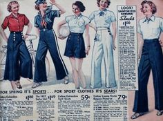 1937 Women's Sailor themed pants, shorts and long coulottes
