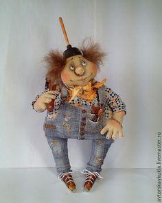 Купить Сантехника вызывали? Авторская текстильная кукла. - синий, кукла, авторская кукла, ручная работа