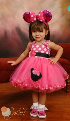 Hey, I found this really awesome Etsy listing at https://www.etsy.com/listing/166575069/pink-minnie-mouse-dress-baby-toddler