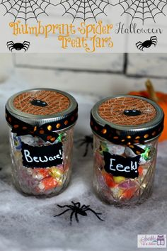 Easy Thumbprint Spider Halloween Treat Jars.  Super cute and perfect for last minute treats!  #Halloween #craft #diy
