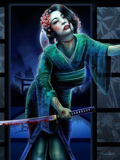 Geisha Zombie by Aaron Fulcher-two of my favs right now, geisha and ZOMBIEs yay! Girl Face Drawing, Woman Drawing, Fantasy Images, Fantasy Women, Fantasy Art, Female Samurai, Geisha Art, Geisha Japan, Ninja Girl