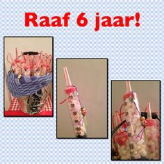 Traktatie Raaf 6 jaar.  60cc syringe filled with mini Marshmallows and a strawberry Candy shoe lace. A tiny wooden Chinese doll for good luck taped with a silver star.  Put it all in a small bucket, I decorated with aluminum foil a real Dutch 'theedoek' kitchen towel. Easy to carry for Raaf. Looks pretty cool I think.
