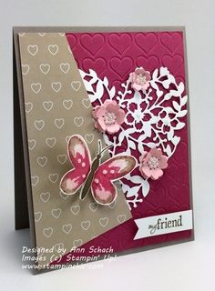 Lynn Kolcun – details There's no shortage of inpiration on today's post! Immerse yourself in 27 card creations by the talented members of my Stampin' Pretty Pal Stampin Up Karten, Karten Diy, Pretty Cards, Love Cards, Valentine Day Cards, Valentines, Cards For Friends, Butterfly Cards, Heart Cards