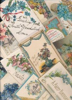 15 VICTORIAN FORGET-ME-NOTS FLOWERS greetings Postcards LOT-bbb610
