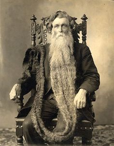 "Hans Nilsen Langseth, ""King Whiskers"" as he was called, who holds the record for  the world's longest beard, 18 feet 6 inches long.He was born in Norway on July 14th, 1846."