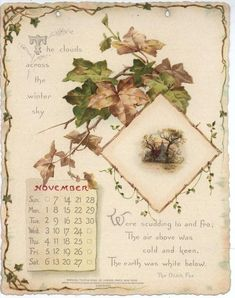 NOBLE THOUGHTS FROM WHITTIER CALENDAR FOR 1897. Vintage Ephemera, Vintage Cards, Vintage Postcards, Vintage Images, Vintage Love, Vintage Prints, Catherine Klein, November Calendar, Vintage Calendar