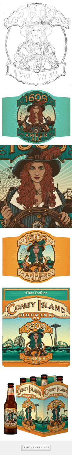 Coney Island: 1609 Amber Ale on Behance by One Horse Town Illustration Studio curated by Packaging Diva PD. More awesome illustrated packaging from the same design team as Coney Island: Overpass IPA.