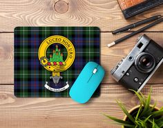 Rubber mousemat with MacKenzie clan crest and tartan - only from ScotClans