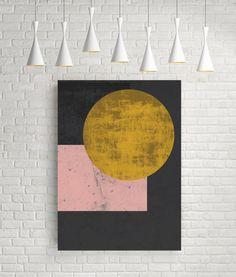 Gold moon, abstract print, gold black, pink and gold art, black and pink, circle print, moon print, wall art prints, wall art poster, decor