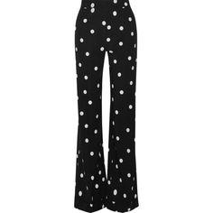 Monse Polka-dot silk-blend crepe wide-leg pants (£1,105) ❤ liked on Polyvore featuring pants, bottoms, trousers, calça, retro pants, polka dot wide leg pants, polka dot pants, black and white polka dot pants and crepe pants