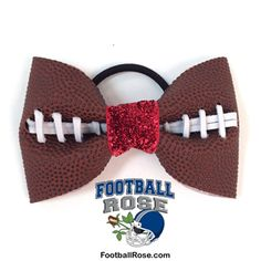 Handmade Football Hair Bow made from real football leather with metallic red velvet ribbon center Velvet Ribbon, Red Velvet, Girly Stuff, Girly Things, Football Hair Bows, Different Font Styles, Team Mom, Elastic Hair Ties, Making Hair Bows
