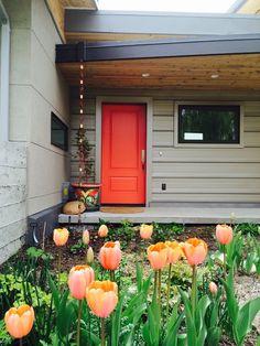Big Horn Residence - Eclectic - Entry - other metro - by Frog Rock Design, LLP - Residential Archite Orange Front Doors, Orange Door, Front Doors With Windows, Painted Front Doors, Front Door Colors, Grey Exterior, House Paint Exterior, Exterior Doors, Architecture Résidentielle
