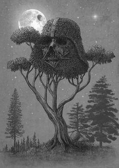 Dark Side of The Forest by Terry Fan #starwars #darthvader #art