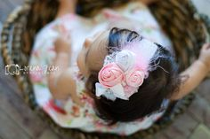 Baby Headband Pink satin Headband vintage by BabyBloomzBoutique, $14.95