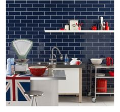 Supersized Metro Brick Tiles by Topps Tiles Navy tiles with white accessories