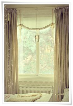 Bedroom Winodw Treatment Whitewashed Cottage chippy shabby chic French country rustic swedish decor idea. ***Pinned by oldattic ***.