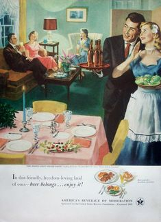 "1952 Beer Belongs ad. ""The Bride's First Dinner Party,"" by Ray Prohaska. Number 66 in the series ""Home Life in America."". 14"" X 10"". Excellent condition, light oxidation. This is for the advertisement only, not the product(s) shown. 