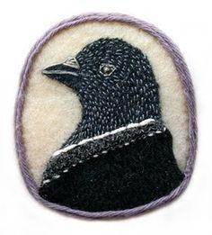 Embroidered Bird Portrait