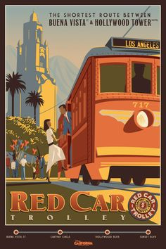 Red Car Troller poster from #Disney's California Adventure re-do. The troller will be part of the Beuna Vista Street redo that is remaking the front of the park. Trolley will go from entrance area to the Tower of Terror.