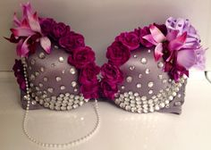 EDC Bra. Festival Bra. Go Go. Go-Go Dancer. Purple and pink fake flowers, rhinestones, gems, jewels, pearl necklace, beads. Custom / DIY / Crafting.