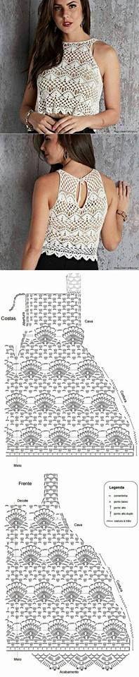 Crochê Decora & Veste: Blusas Com Gráficos #9