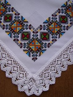 Embroidery detail from table cloth. Olga Malanchuk made this in 1957 from a Nasha Chata magazine pattern. Cross Stitch Rose, Cross Stitch Borders, Cross Stitch Designs, Cross Stitching, Cross Stitch Patterns, Folk Embroidery, Cross Stitch Embroidery, Embroidery Patterns, Palestinian Embroidery