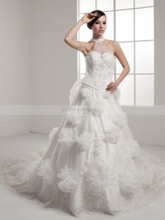 Dramatic Cathedral Train High Neck Wedding Dress with Beads and Appliques