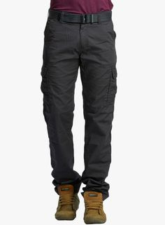 Buy BEEVEE Grey Solid Cargo With Belt for Men Online India, Best Prices, Reviews…